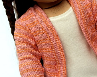 Fits like American Girl Doll Clothes - Salmon Pink Sweater Cardigan, Made To Order