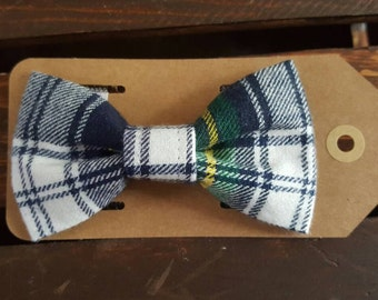 Plaid Flannel Bow Tie Navy Blue White Green