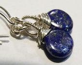 Lapis Lazuli Earrings, Sterling Silver, Wire Wrapped, Lapis Earrings, Lapis Lazuli, Sterling, Smooth Lapis