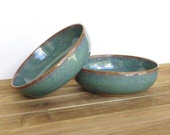 Ceramic Pasta Bowls in Sea Mist Glaze - Stoneware Pottery Bowls Set of 2