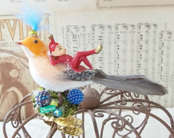 One of a Kind Heirloom Vintage Peach / Orange Cotton Bird with a Pixie Glitter Swarovski Crystals and Moss Christmas Ornament Clip