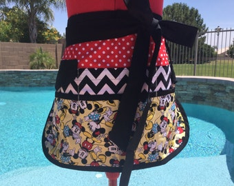 Teacher Sassy Half Apron, Back to School, Sturdy, 6 pockets, Plus Sizes, great for Vendors, Utility, Gardening, Farmers Market, Minnie Apron