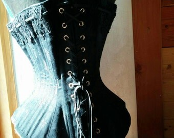 Antique style hourglass Black cat Corset for waist training
