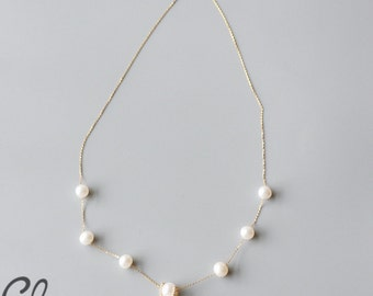 Round White Fresh Water Pearl and 18k Gold Chain Necklace - Genuine Pearl (N125)