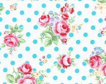 Aqua Turquoise White Rose Floral Polka Dot 31268 70 Fabric by Lecien Flower Sugar