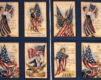 Patriotic Flag Panels John Grossman Collection  100% cotton Prewashed  (#D/89A)
