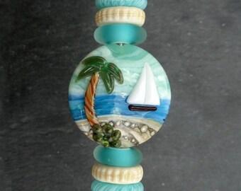 Lampwork Glass Bead Focal Set (7) Sail Boat