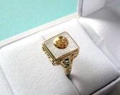RESERVED..14kt Gold Camphor Glass Filigree Ring