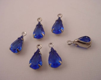6 Vintage Capri Blue Glass  tear pear  drop open back SILVER charms 10x6