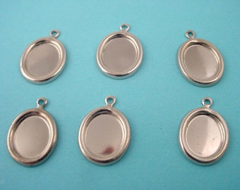 10 silver tone rounded rim settings with loop 10x8