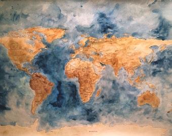 Giant Original Watercolor World Map
