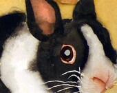 A Bunny Rabbit Art PRINT / Watercolor painting / Animal art / Wild Life Woodlands Nature / Watercolor Pet Print Easter bunny rabbit -  A