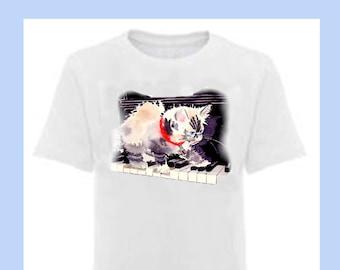 Marvelous Effort shirt Cat shirt Kitten shirt Kitten Playing Piano White purple T-shirt Cat illustration