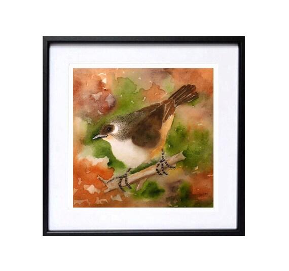 Little Bird Art PRINT/ Watercolor Painting / Wildlife nature art / Bird illustration colorful brown orange artwork / Whimsical wren finch