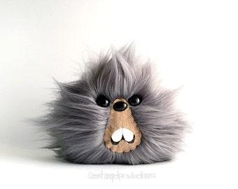 Gray Monster Plush, Furry Weird Fluffy Kawaii Handmade Fuzzy Plushie, READY TO SHIP