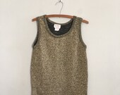 Gold 1970s tank top long sparkly tank top knit sleeveless sweater