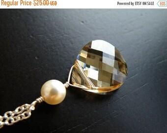 Clearance SALE Swarovski Crystal Necklace Champagne Briolette Sterling Pendant BN3