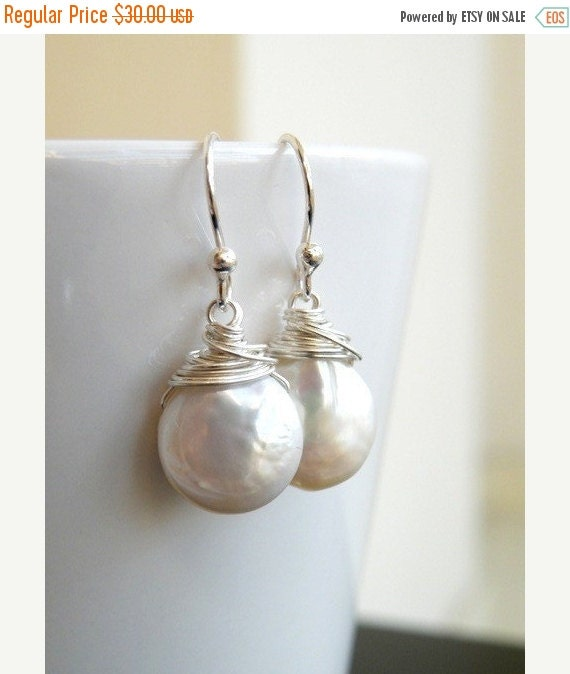27% Off Sale Coin Pearl Wire Wrapped Sterling Dangle Earrings GE5