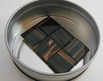 Tigers eye glass tile magnets set