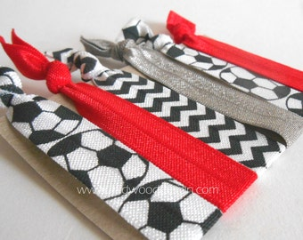 Soccer red and gray fold over elastic hair ties set of 6