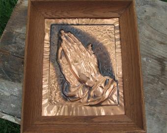 Praying Hands Copper Relief