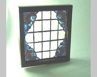 Miniature Stained Glass Window for Your Dollhouse - Hand Painted and Kiln Fired-In a Wood Frame - Nice