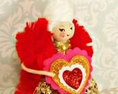Marie Antoinette Valentine doll Marie Antoinette ornament Valentine decor gold pink red vintage retro inspired ooak art doll toni Kelly doll