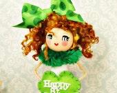 Happy St Patricks Day doll tree topper centerpiece vintage retro inspired ooak art doll toni Kelly original green and white Irish girl doll