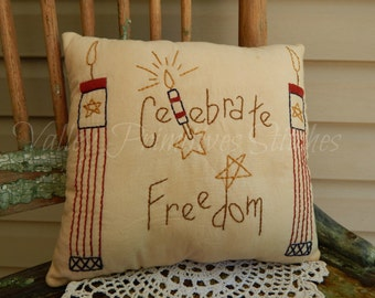 Hand Stitched, Patriotic Pillow, Celebrate Freedom, Red White Blue, Fireworks, ATGCele
