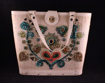 Vintage Enid Collins Style Ivory or Creamy White Purse with Jeweled Flowers