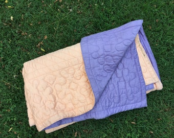 Vintage Hand Quilted Purple and Peach Reversible Crib Quilt