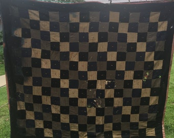 Vintage Hand Tied Black and Tan Patchwork Cutter Quilt with Wine Whole Cloth Backing