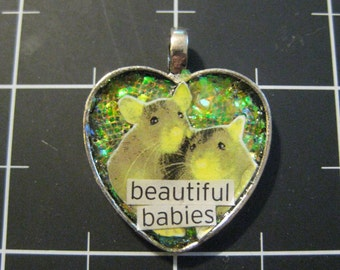 """Heart Rats Pendant, """"Beautiful Babies"""", 50% goes to the current focus charity"""