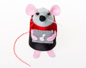 Mac Geek Mouse - computer geek gift for apple genius engineer collectable art rat artists mice felt mouse cute soft sculpture toy - Cody