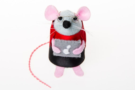 Mac Geek Computer Mouse ornament felt rat hamster mice cute gift for computer geek gift for apple genius gift for IT engineer- Cody