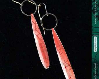 Long DripDrops--Upcycled Tin Earrings--You Choose the Pattern