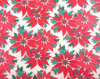 Vintage Christmas Wrapping Paper or Gift Wrap with Red Poinsettias and Holly