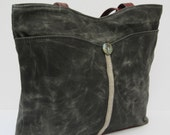 LARGE Waxed Canvas TOTE BAG Shine your Light on the Rugged Beauty