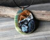 Silverback gorilla  -  fused glass pendant