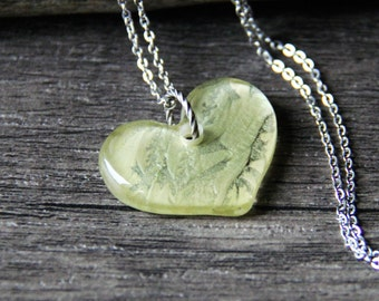 Beautiful Green heart glass necklace , fused glass pendant.