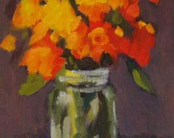 Giclee Canvas Print:  Zinnias in a Mason Jar 8 x 10