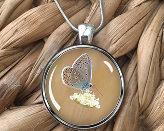 Butterfly on Flower Glass Pendant Necklace