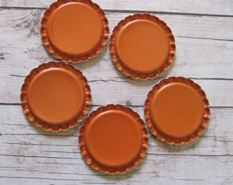 100 Orange Flattened Bottle Caps- Perfect for fridge magnets, pendants, zipper pulls, hair bows, scrap booking, bracelets, etc.