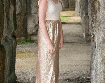 Womens Floor Length Rose Gold Sequins Skirt, Rose Gold Skirt, Sequins skirt, wedding skirt, cocktail dress, Sequined mermaid skirt
