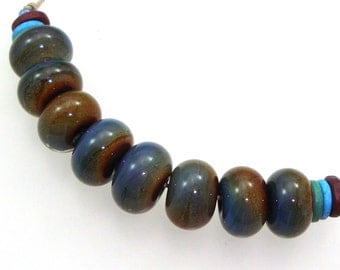 Handmade Lampwork Glass Beads - Winds of Change! 8 bead set. Encased chalcedony raku silver glass.