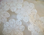 "6 vintage hand crocheted teacup doilies, lacy flower pattern, soft white cotton, vintage hand work, 3.5"" small lacy doilies, tea party table"