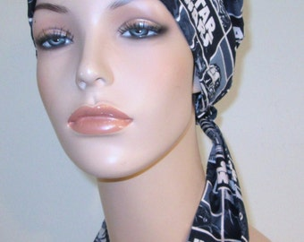 New Star Wars Print  Chemo Scarf, Hat, Cancer Hat, Hijab, Alopecia