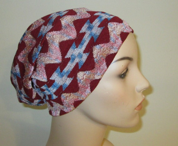 Slouch Hat Cranberry Ethnic  Casual Stretch Knit Chemo Cap, Cancer Hat, Alopecia, Modest Hat,