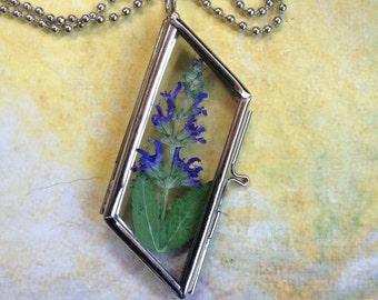 Dried Flowers,  hinged  Locket, Glass locket, Glass Pendant, Blue .