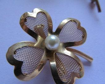 Vintage Shamrock Brass & Pearl Pin Brooch